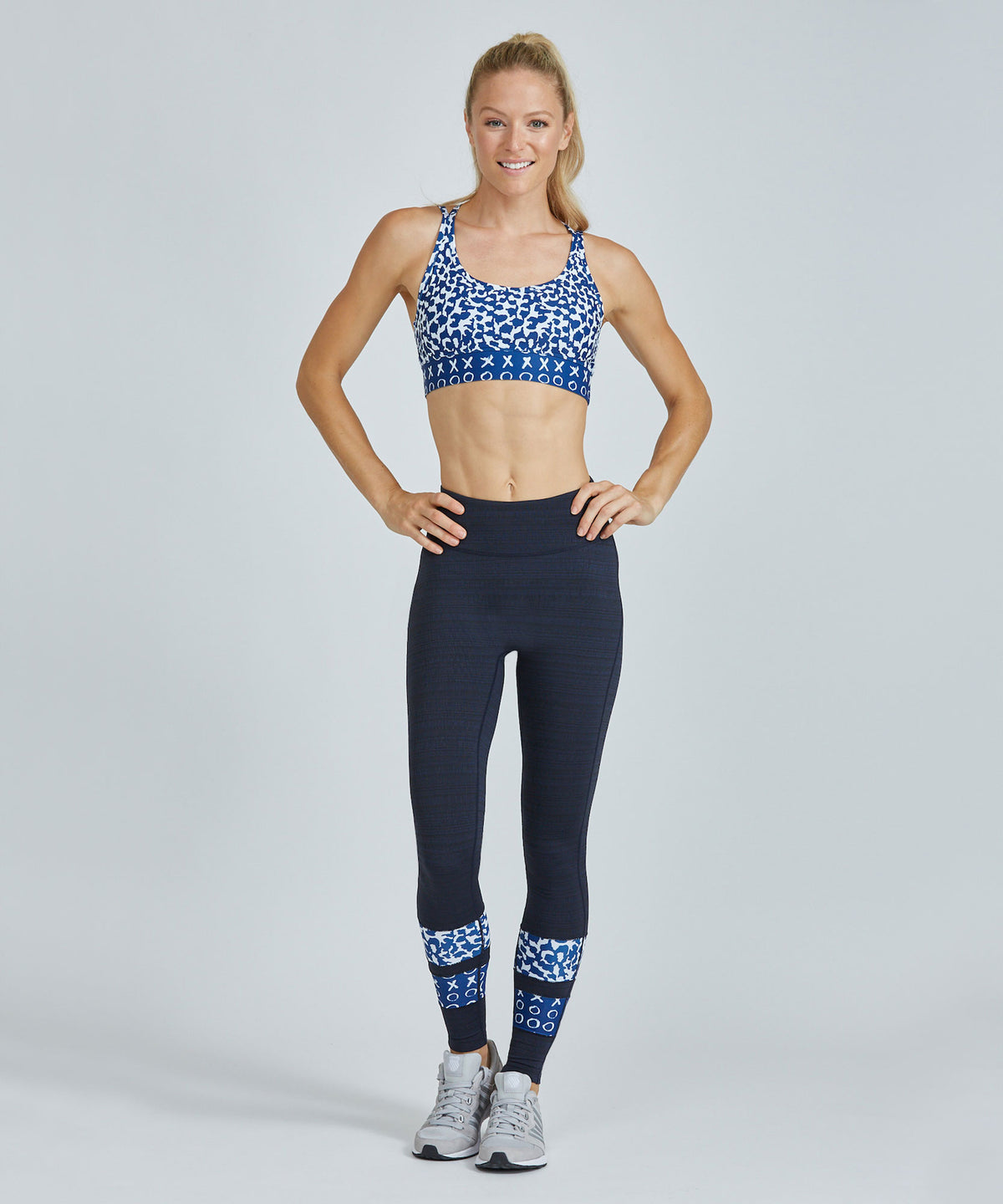 Full-Length Medley Legging - Navy Jacquard Navy Jacquard Full Length Medley Legging - Women's Yoga Legging by PRISMSPORT