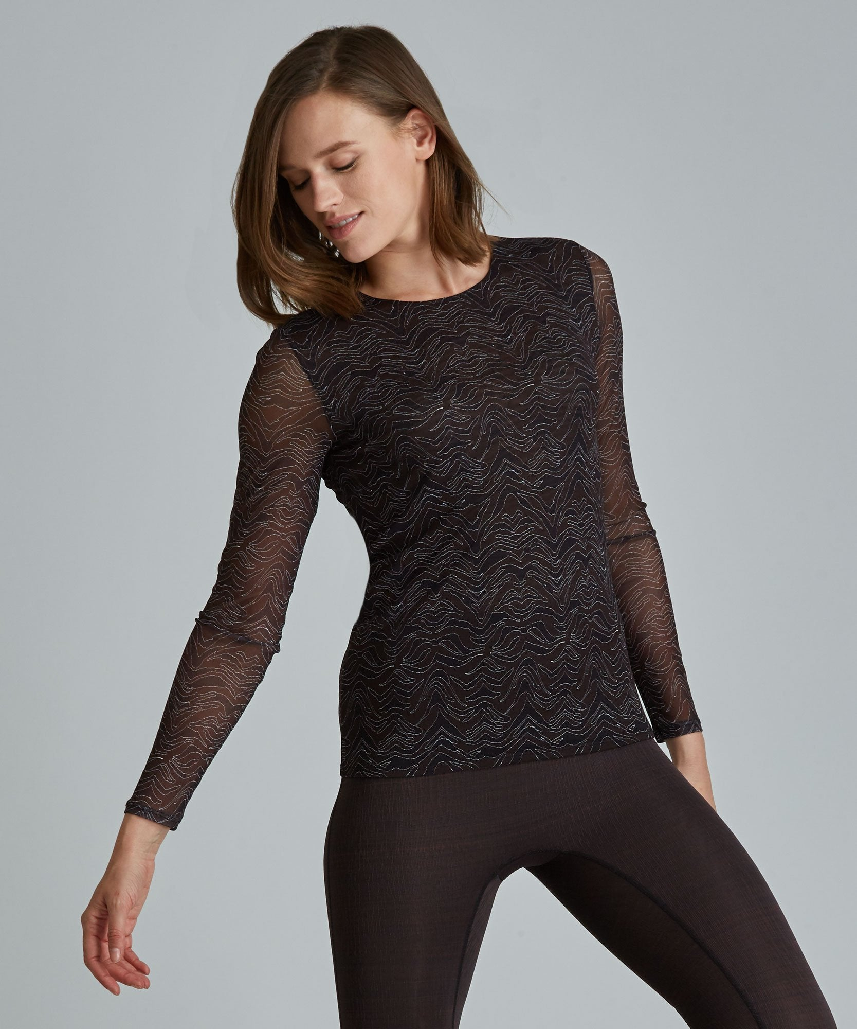 Emma Mesh Long Sleeve Tee - Black/ Gold Shimmer