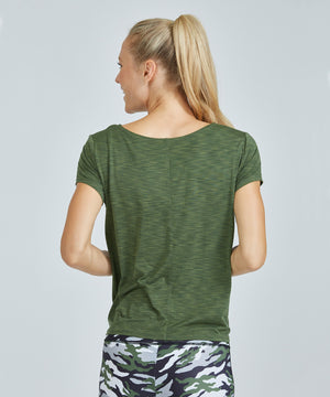 Jackie Top - Olive Olive Jackie Top - Women's Activewear Short Sleeve Top by PRISMSPORT