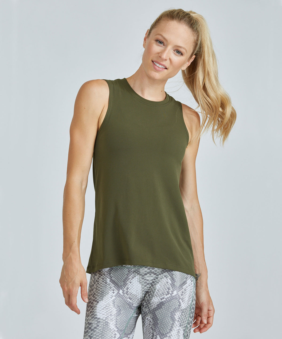 Muscle Tee - Olive Olive Muscle Tee - Women's Activewear Tank Top by PRISMSPORT