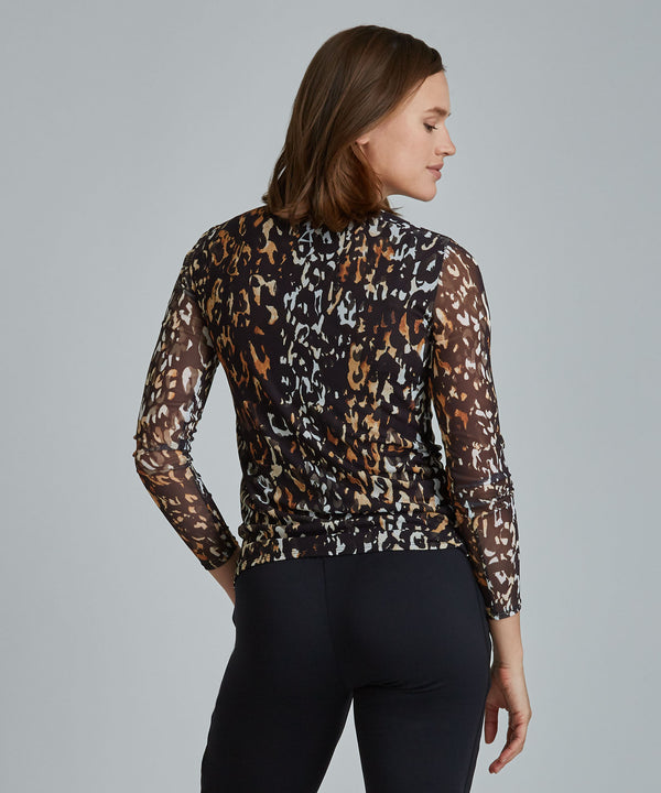 Emma Mesh Long Sleeve Tee - Ombre Cheetah Ombre Cheetah Emma Mesh Long Sleeve Top - Women's Activewear Long Sleeve Top by PRISMSPORT
