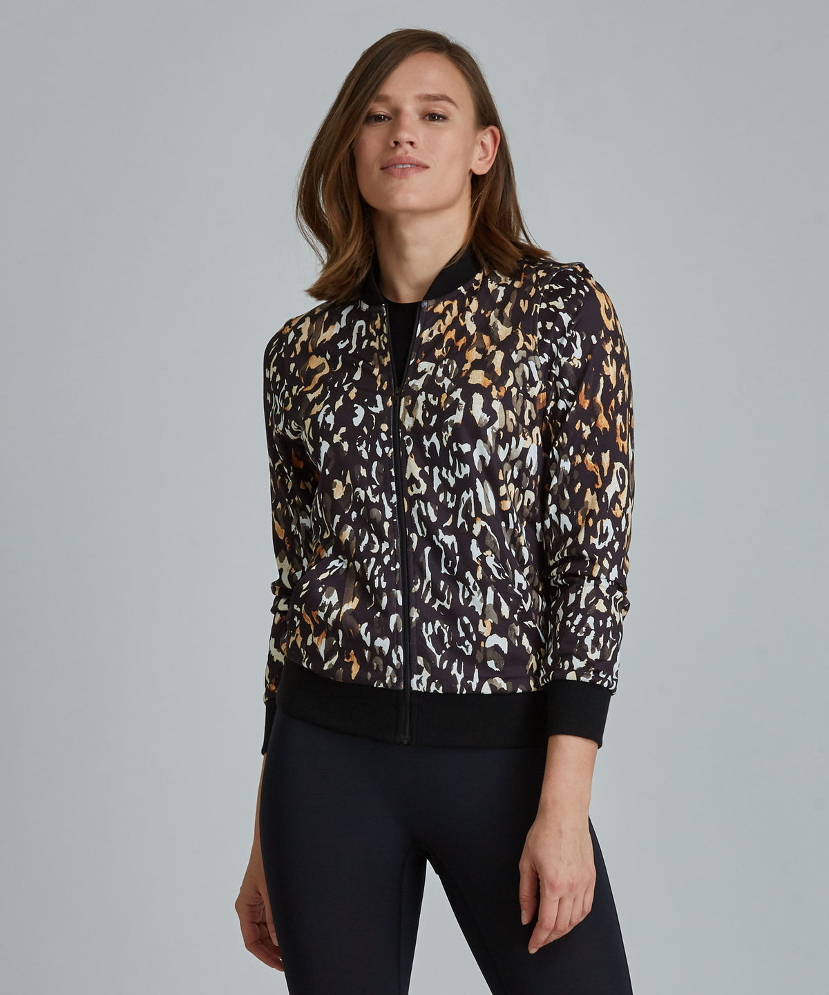 Lindy Jacket - Ombre Cheetah Ombre Cheetah Lindy Bomber Jacket -Women's Activewear Jacket by PRISMSPORT