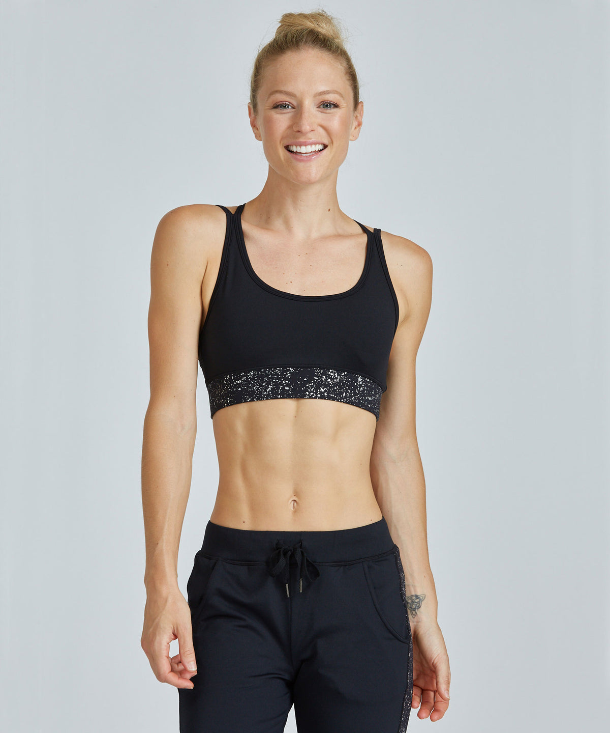 Strappy Bra - Silver Travertine Silver Travertine Strappy Bra - Women's Sports Bra by PRISMSPORT