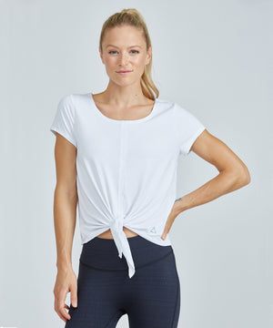 Jackie Top - White White Jackie Top - Women's Activewear Short Sleeve Top by PRISMSPORT