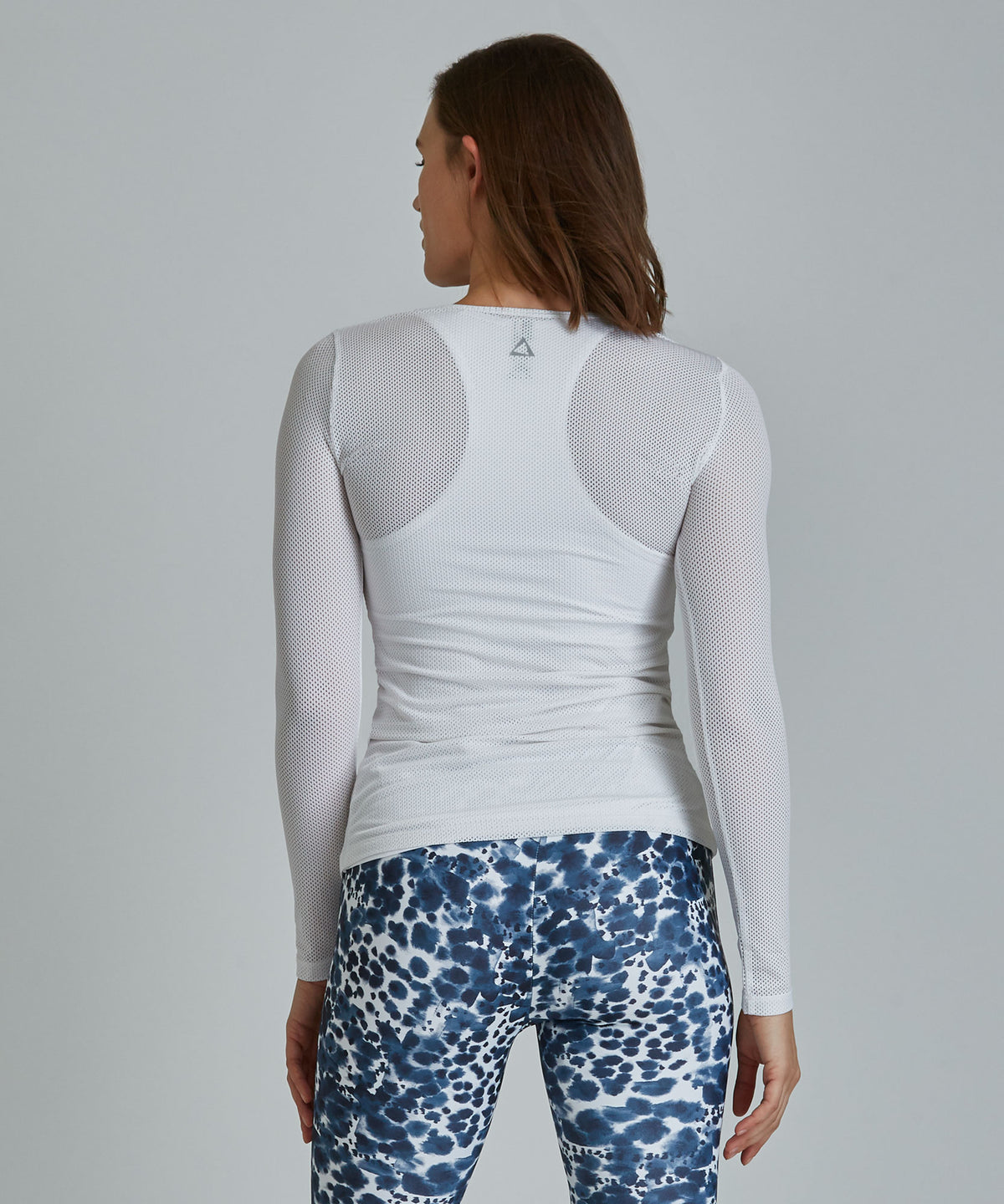 Laser Mesh Top - White White Laser Mesh Top - Women's Activewear Long Sleeve Top by PRISMSPORT