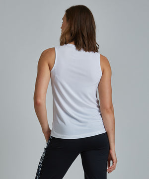Muscle Tee - White White Muscle Tee - Women's Activewear Tank Top by PRISMSPORT
