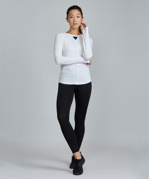 Run Top - White White Run Top - Women's Activewear Long Sleeve Top by PRISMSPORT