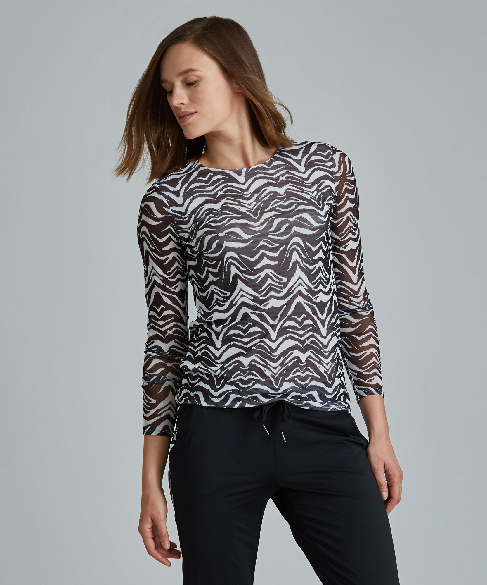 Emma Mesh Long Sleeve Tee - Autumn Leaves