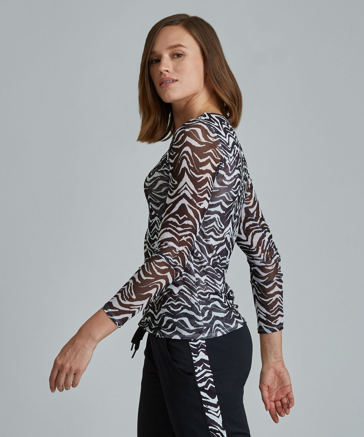 Emma Mesh Long Sleeve Tee - Zebra Zebra Emma Mesh Long Sleeve Top - Women's Activewear Long Sleeve Top by PRISMSPORT