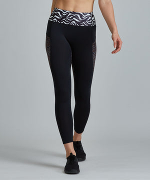Peace Full-Length Legging - Black/ Zebra Zebra and Okapi Peace Full-Length Legging - Women's Yoga Legging by PRISMSPORT