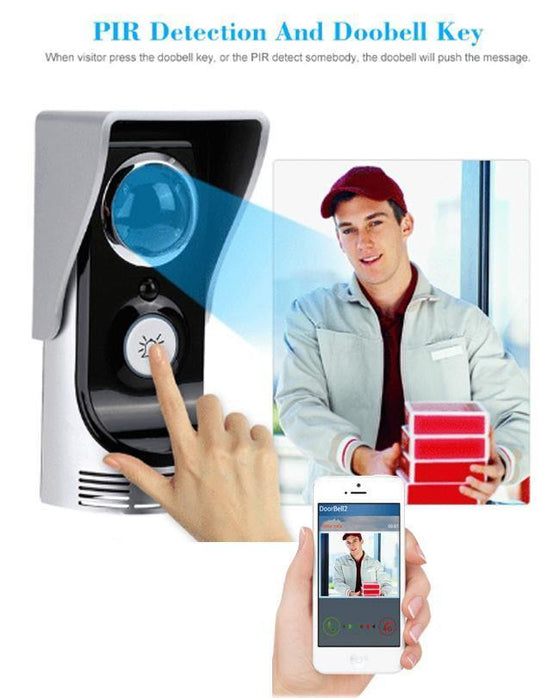 Wireless Video Door Phone Bells Intercom Peehole Camera PIR IR Night Vision Waterproof - zapple.pk