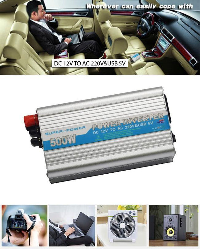 500W Power Inverter Dc 12V to AC220V & USB 5V - Silver - zapple.pk