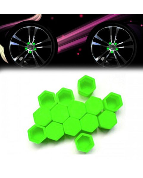 Silicon Wheel Hub Nut Covers 17MM For Cars  - Green - zapple.pk
