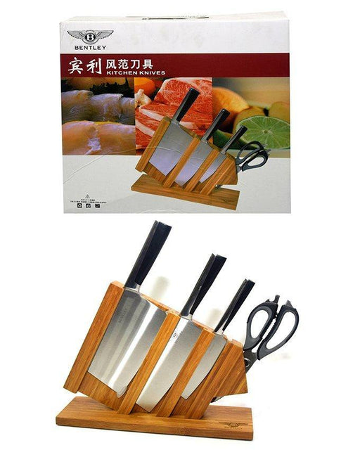 Stainless Steel kitchen Knives set With Wooden Stand - Bentley - zapple.pk