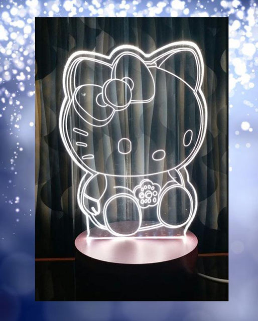 Hello Kitty Big Shape 3D Acrylic Lamp With Plastic Base - zapple.pk