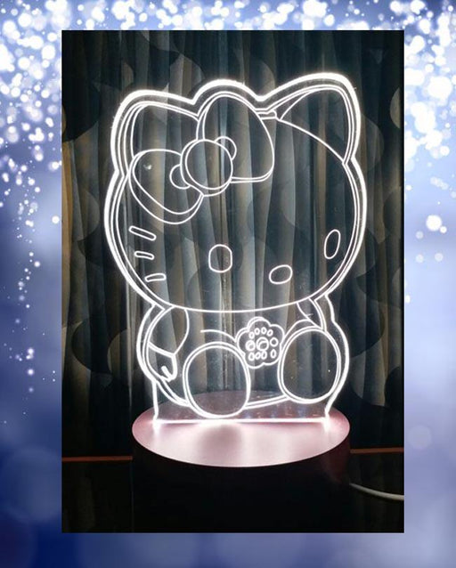 Hello Kitty Big Shape 3D Acrylic Lamp With Plastic Base