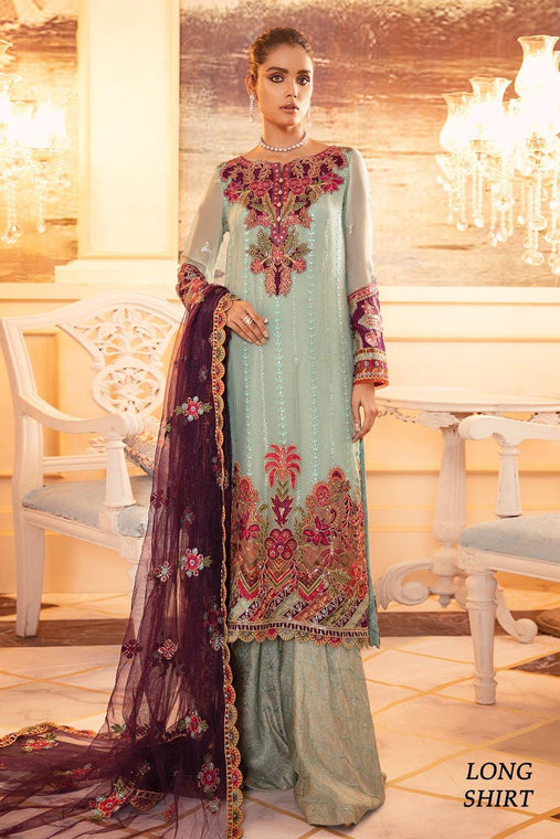 Iznik Chiffon Collection 3pc Unstitched Suit - IFN-07 MARRAH - zapple.pk