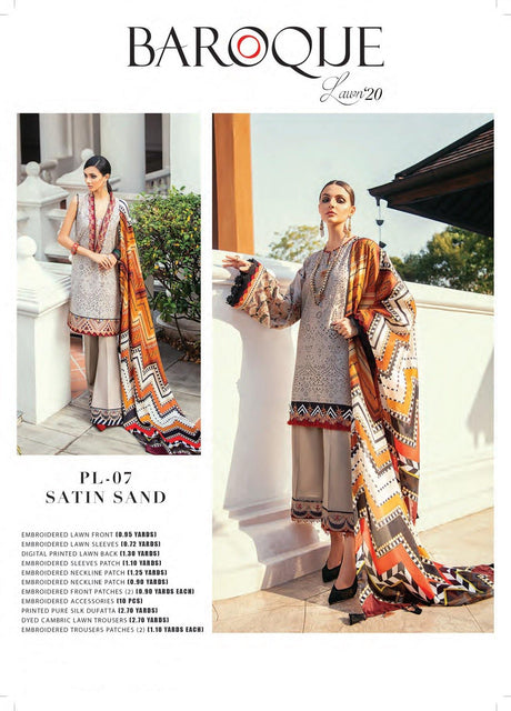 Satin Sand Premium Lawn Collection ( Baroque ) - zapple.pk