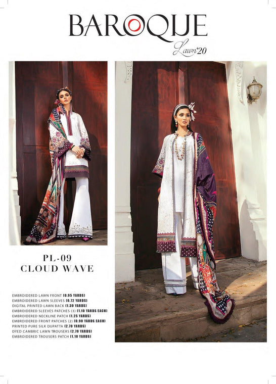 Cloud Wave Premium Lawn Collection ( Baroque ) - zapple.pk