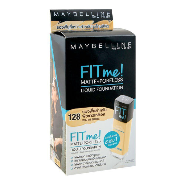 Maybelline Fit Me Liquid Foundation Matte & Poreless 6Pcx5ml - 128 Warm Nude ( SACby6 ) - zapple.pk
