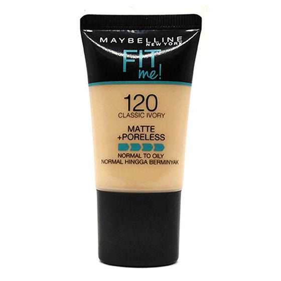 Maybelline Fit Me Liquid Foundation Matte & Poreless Tube18ml - 120 Classic Ivory - zapple.pk