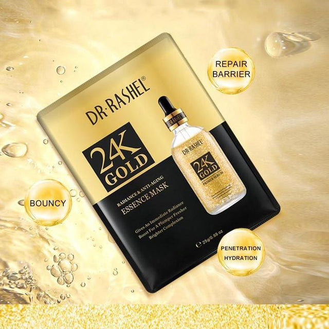 Dr.Rashel 24k Gold radiance & anti-aging essence Mask - zapple.pk