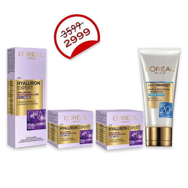 Deal - 26 ( L'ORÉAL Day Cream SPF20 50ml, L'ORÉAL Night Cream 50ml, L'ORÉAL Eye Cream 15m, L'ORÉAL Facewash - 50ml )