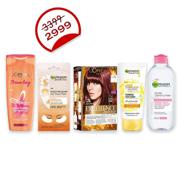 Deal - 28 ( Garnier Micellar Cleansing Water 400ml, Garnier Tissue Eye Mask, Garnier Facewash 100ml, L'ORÉAL Hair Excellence, L'ORÉAL Shampoo 360ml )