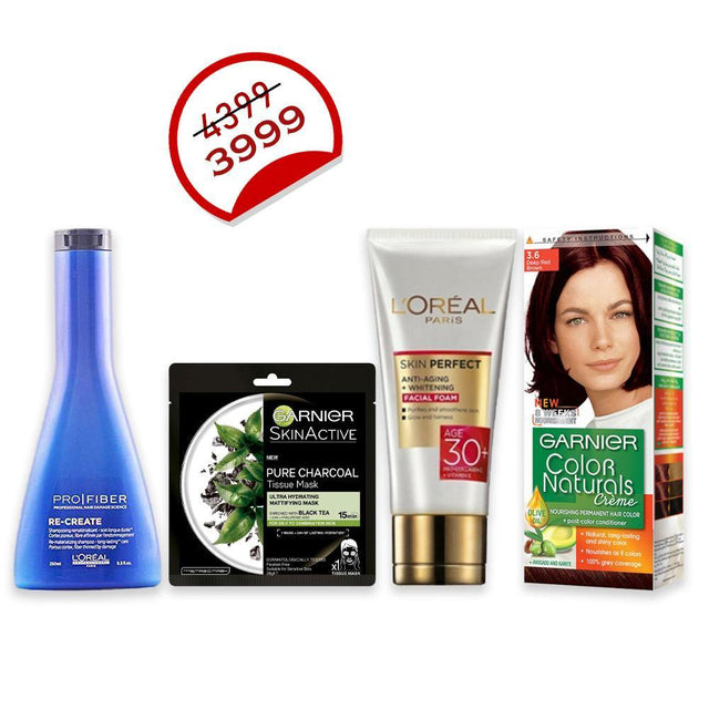 Deal - 29 ( L'ORÉAL Professionnel Shampoo 250ml, Garnier Color Naturals, L'ORÉAL Facewash 50ml, Garnier Face Mask Black )