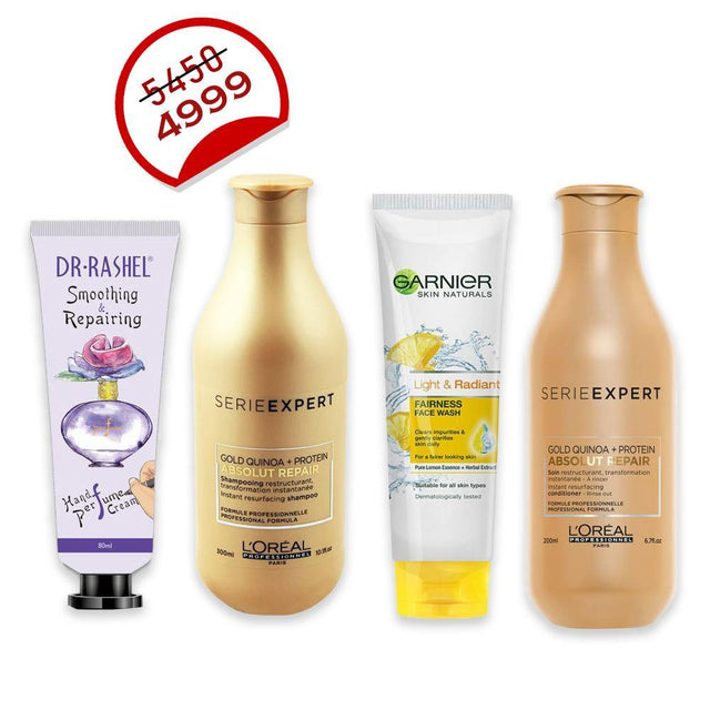 Deal - 30 ( Dr.Rashel Body Lotion, L'ORÉAL Professionnel Serie Expert Shampoo 300ml, L'ORÉAL Professionnel Serie Expert Conditioner 200ml, Garnier Facewash 50ml )