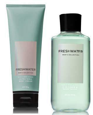 Bath & Body Works Men's Collection Fresh Water Ultra Shea Body Cream & 2 in 1 Hair and Body Wash - Gift Box - zapple.pk