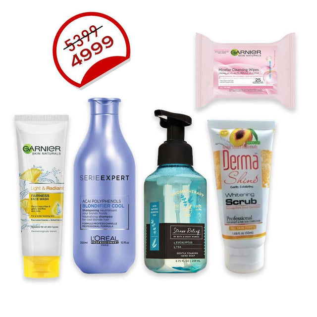 Deal - 32 ( Bath & Body Works Hand Soap 259ml, Derma Shine Whitening Scrub 50ml, Garnier Cleansing Wipes, Garnier Facewash 50ml, L'ORÉAL Professionnel Serie Expert Shampoo 300ml )