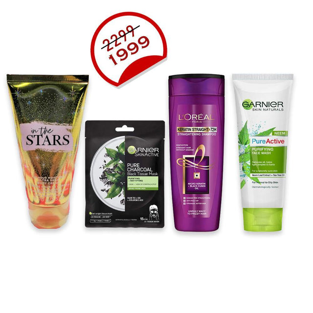 Deal - 33 ( Bath & Body Works Body Cream 70ml, Garnier Facewash 100ml, Garnier Face Mask, L'ORÉAL Shampoo 175ml )