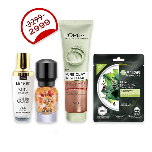 Deal - 34 ( L'ORÉAL Clay Facewash 150ml, Dr.Rashel Eye Serum, Dr.Rashel Cleanser Facial Milk, Garnier Face Mask )