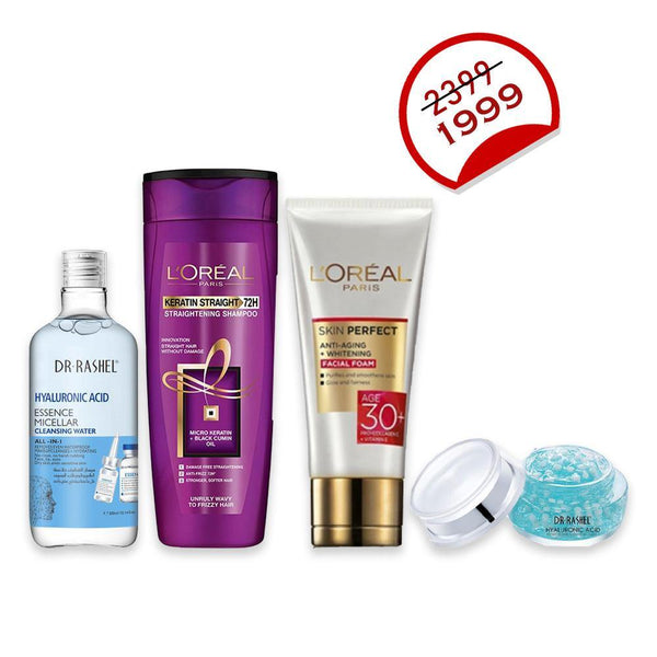 Deal - 35 ( Dr.Rashel Makeup Remover Cleansing Water, L'ORÉAL Shampoo 175ml, L'ORÉAL Facewash 50ml, Dr.Rashel Hyaluronic Acid Gel Cream )