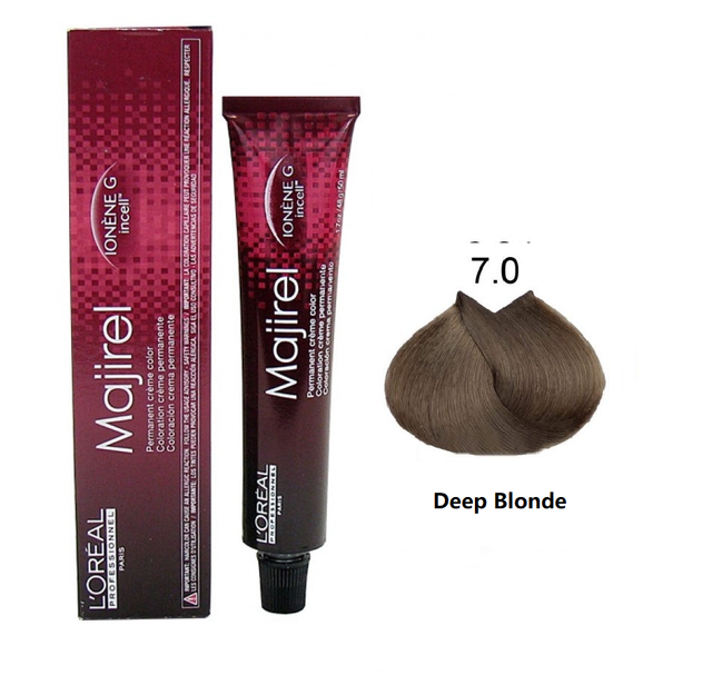 L'ORÉAL Paris Professionnel Majirel Hair Color Creme 7.0 Deep Blonde - 50ml - zapple.pk