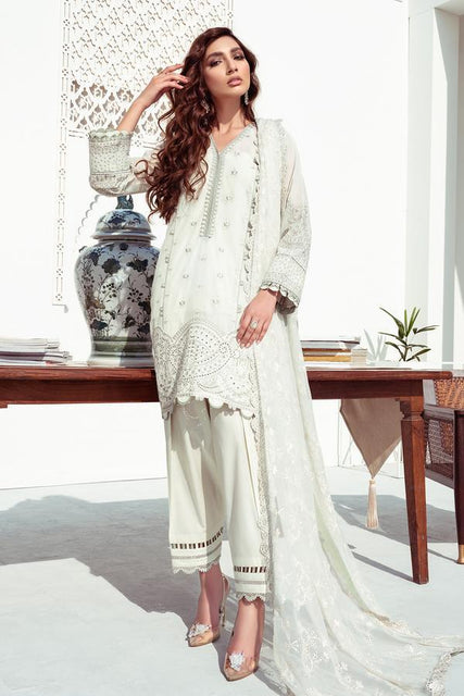 Baroque Embroidered Swiss Voile Unstitched 3PC Suit - 03 ALABASTER - zapple.pk