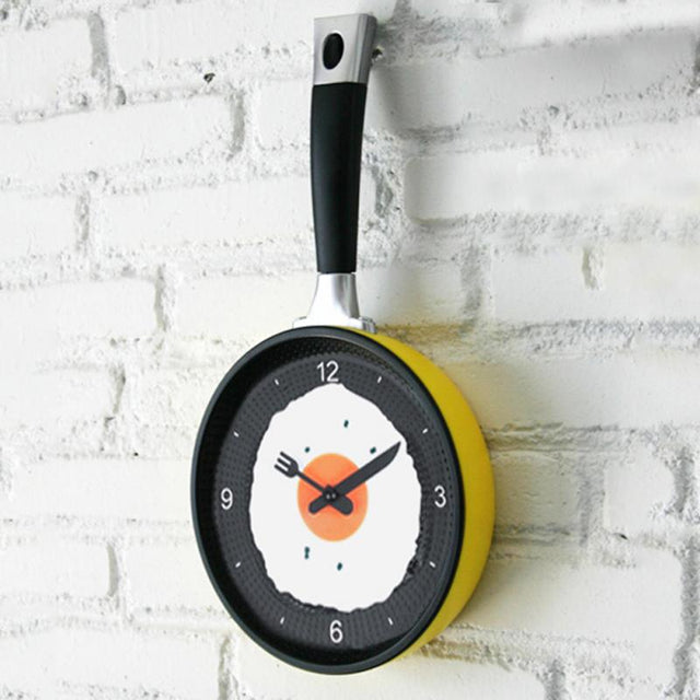 Creative Omelette Frying Pan Kitchen Fried Egg Wall Clock - zapple.pk