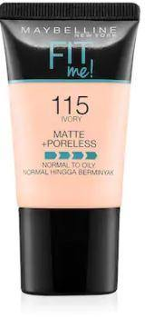 Maybelline Fit Me Liquid Foundation Matte & Poreless Tube18ml - 115 Ivory - zapple.pk