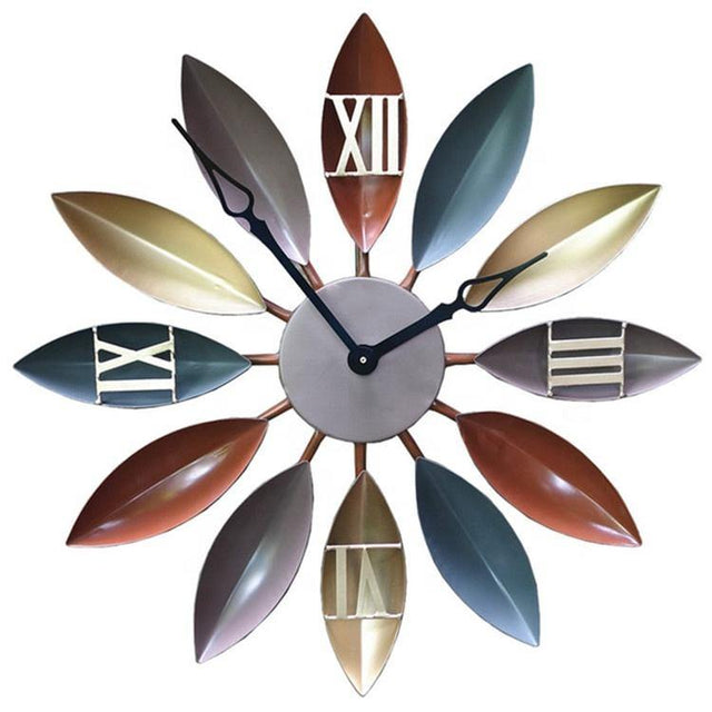 Leaf Retro Vintage Style Decorative Wall Clock - zapple.pk