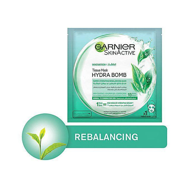 Garnier Hydra Bomb Green Tea Tissue Face Mask, Hydrating & Re-Balancing - zapple.pk