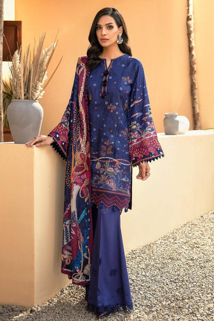 IRIS VIRSA by Jazmin Embroidered Linen Unstitched 3 Piece Suit - 02 Shahkaar - zapple.pk