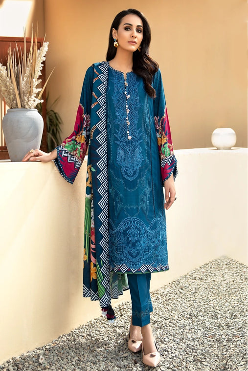 IRIS VIRSA by Jazmin Embroidered Linen Unstitched 3 Piece Suit - 08 Falak - zapple.pk