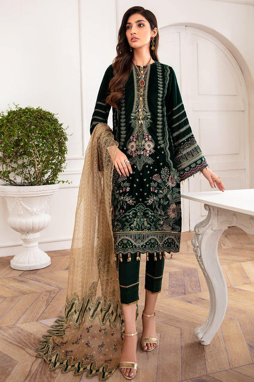 Jazmín Mahpare Luxury Chiffon Collection Un-Stitched Suit - Mala 05 - zapple.pk