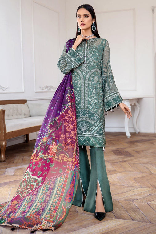 Jazmín Mahpare Luxury Chiffon Collection Un-Stitched Suit - Vasl 09 - zapple.pk
