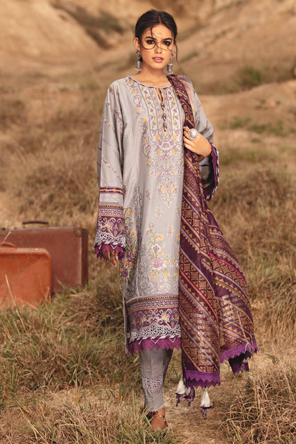 Karvaan By Jazmin Embroidered Luxury Lawn Unstitched 3pc Suit Collection - 14 SEHAM - zapple.pk