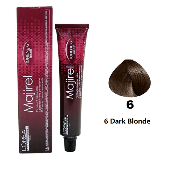L'ORÉAL Paris Professionnel Majirel Hair Color Creme 6 Dark Blonde - 50ml - zapple.pk