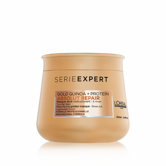 L'ORÉAL Paris Professionnel Serie Expert Gold Quinoa + Protein Absolut Repair Hair Masque - 250ml - zapple.pk