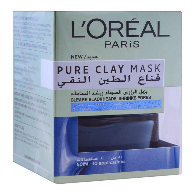 L'ORÉAL Paris Pure Clay Blue Face Mask Clears Blackheads & Shrinks Pores - 50ml - zapple.pk