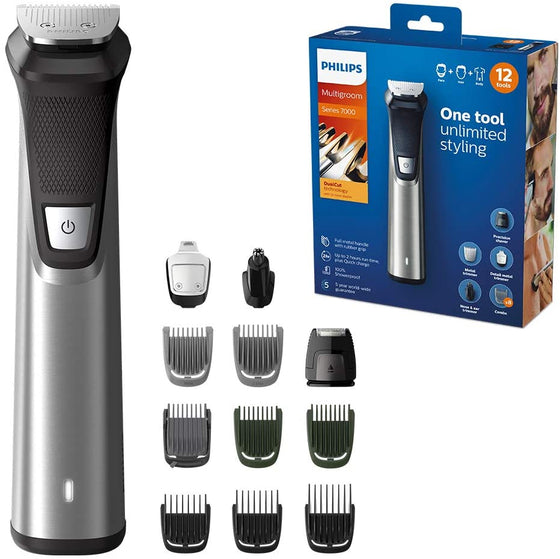 Philips Multigroom series 7000 12-in-1, Face, Hair and Body Trimmer - MG7735/15 - zapple.pk